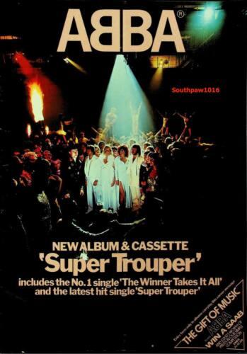 """1980  Abba """"Super Trouper"""" Album  Release Music Industry Promo Ad Reprint"""
