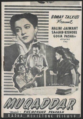 India Bollywood Bombay Talkies 1950 MUQADDAR booklet – Nalini Jaywant