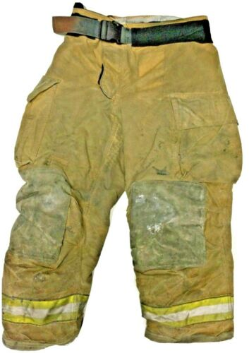 38x30 Globe Gxtreme Brown Firefighter Turnout Pants With Yellow Tape P1241
