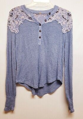 Free People Womens Purple Blue Flower Long Sleeve Blouse Boho Shabby Size S
