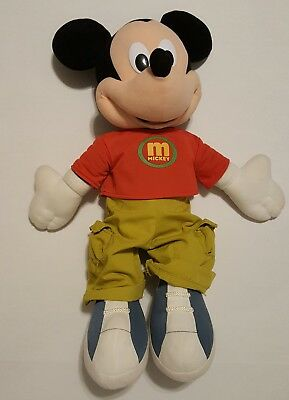 "Walt Disney 25"" Mickey Mouse Jumbo Giant Plush Cargo Pants t-shirt 2000 Fisher"
