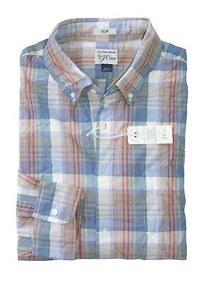 Baumwolle Plaid Khaki (J.Crew HERREN Slim Nwt Khaki Blau Rot Plaid Secret Wäsche Hemd)