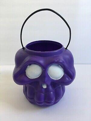 General Foam Plastic Halloween Purple Skeleton Skull Candy Pail Decor Blow Mold