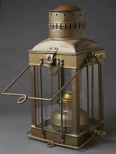 "Excellent Antique Viking Brass Ship Lantern Nautical  Hanging Oil Lamp Large 15"""