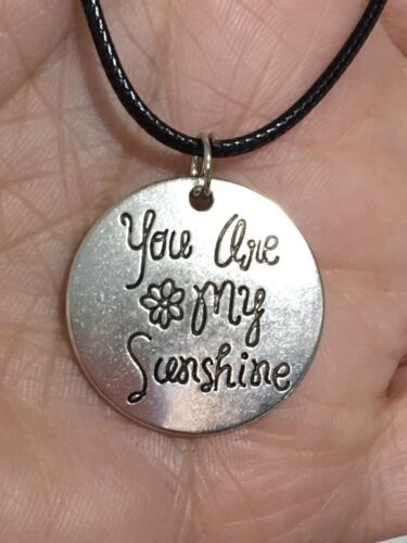 Lot 2 You Are My Sunshine Silver Pendant Black Necklaces Pink Box Gift For Her  - $21.99