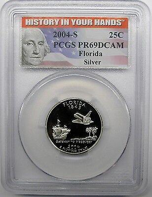2004 S FLORIDA 50 STATES QUARTER PCGS PR69DCAM SILVER PROOF