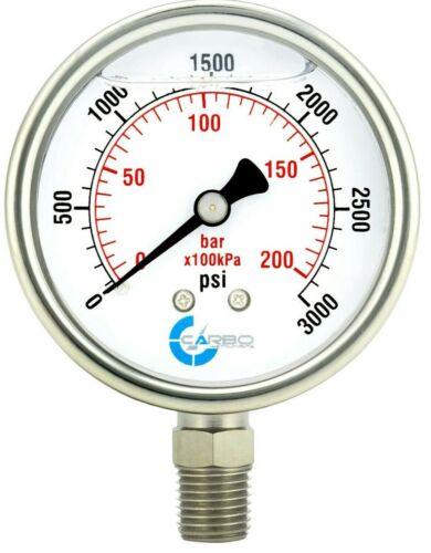 "2-1/2"" Pressure Gauge, ALL STAINLESS STEEL, Liquid Filled, Lower Mnt, 3000 Psi"