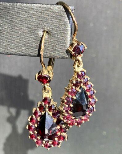 Vintage Czech Bohemian Rose-Cut Red Garnet Dangle Earrings Silver Gold Vermeil