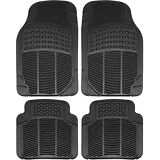 Floor Mats for SUVs Trucks Vans 4pc Set All Weather Rubber Semi Custom Fit Black