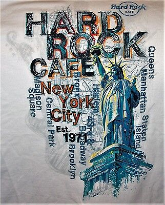 HARD ROCK CAFE NEW YORK CITY ICONS WHITE T-SHIRT SIZE YOUNG MENS LARGE NEW