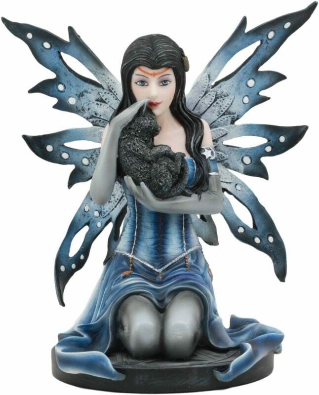 """Ebros Blue Celestial Witch Fairy Cradling A Mystical Black Cat Statue 8.25"""" Tall"""