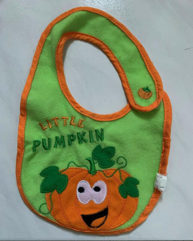 Unisex Boy Girl Baby Halloween Bib Orange Little Pumpkin