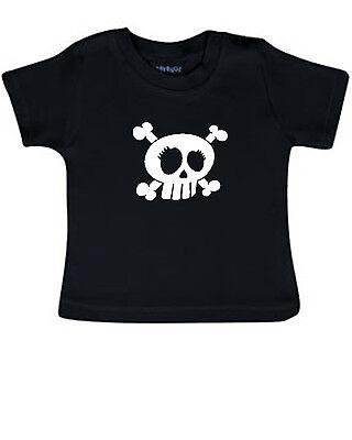 Schwarz Babyshirt (Baby T-Shirt Babyshirt schwarz SKULL Totenkopf metal Rock Festival fun Gothic)