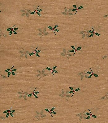 Christmas HOLLY Tissue Paper on Kraft/Tan background  # 763 ~ 10 Large Sheets - Tissue Paper Backdrop