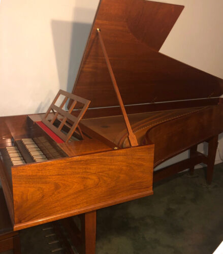 Antique Vintage Custom Bannister Mahogany Double Manual Concert Harpsichord