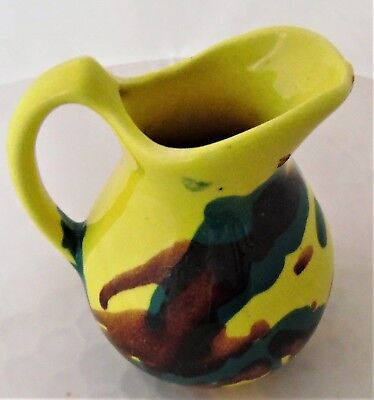 "Paden City Artwork Pottery Yellow Green &  Brown Mini 4"" Pitcher Creamer"