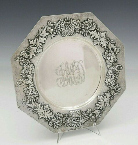 Peter KRIDER Sterling Silver DESSERT PLATE Chased BASKETS OF FLOWERS