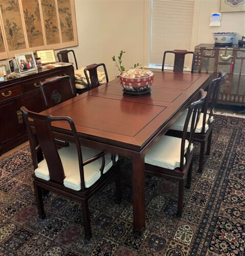 Vintage George Zee Chinese Rosewood Dining Table & Chairs + Leaf, Pads + WE SHIP