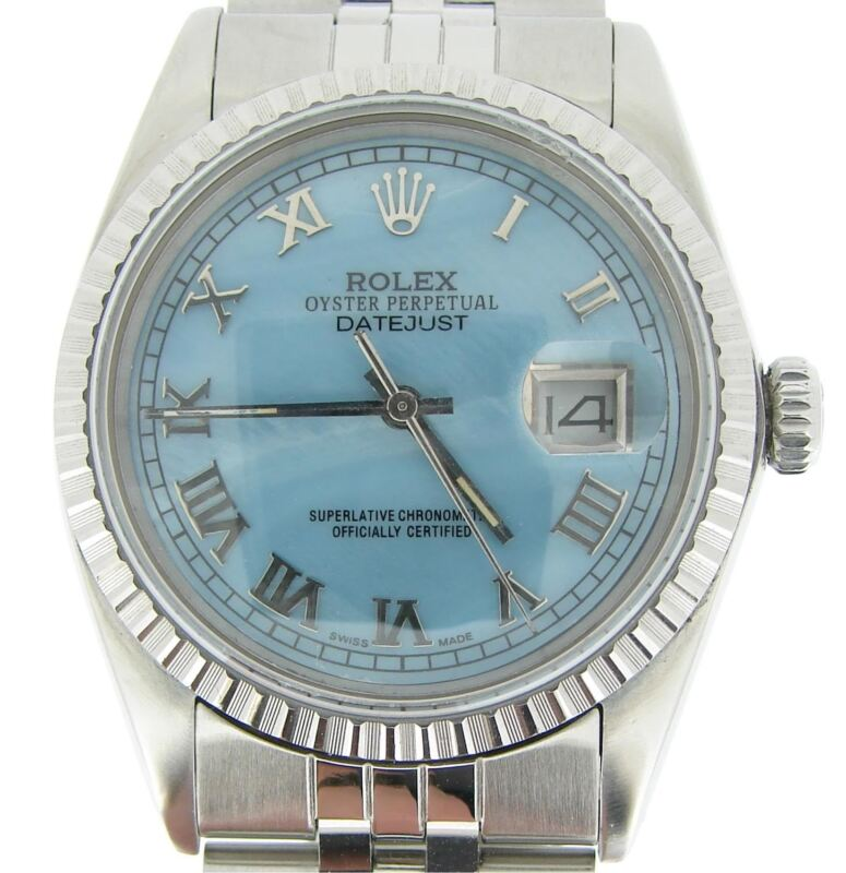 Mens Rolex Stainless Steel Datejust Watch Blue Mother Of Pearl Roman Dial 16030