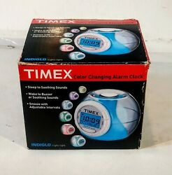 TIMEX COLOR CHANGING ALARM CLOCK INDIGLO NIGHT LIGHT,NATURE SOUNDS,DATE, TEMP.