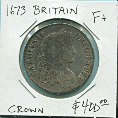 GREAT BRITAIN- BEAUTIFUL HISTORICAL CHARLES II TONED SILVER CROWN, 1673, KM# 435