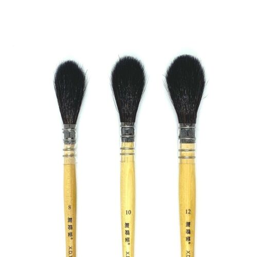 XDT#920 Mop Round Tip Artist Paint Art Brush 3pc Black Goat Acrylic Watercolor