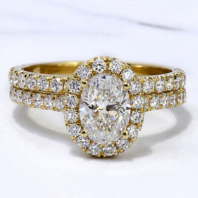 2.20 Ctw Halo Oval Cut Diamond Engagement Ring & Matching Band G, VS2 GIA 14K 2