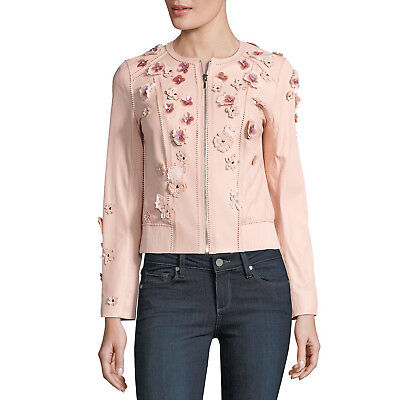 1909d94bc45 ELIE TAHARI Leather Floral Applique GLENNA Jacket Ballerina (blush pink) •  LARGE