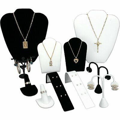 Black Velvet White Jewelry Display 11 Pc Set Bonus