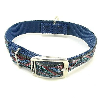 "HAMILTON ST Nylon Dog Collar, 20"" x 1"", Navy Blue with Southwest Overlay"