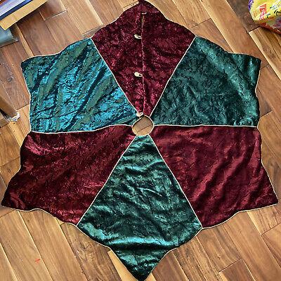 """Christmas Tree Skirt Red & Green Velvet Buttons & Gold Trim 54"""" Fast Shipping"""
