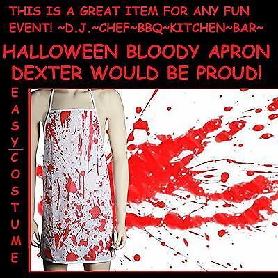 Bloody Apron BBQ DEXTER Costume Butcher Chef Zombie Halloween Massacre Horror - Halloween Dexter Costume