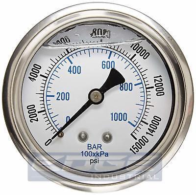 Liquid Filled Pressure Gauge 0-15000 Psi 2.5 Face 14 Back Mount Wog