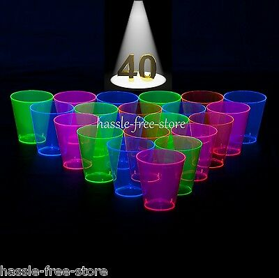 Assorted Neon Shot Glasses Blacklight Reactive Hard Plastic 2 Ounce 40 Count
