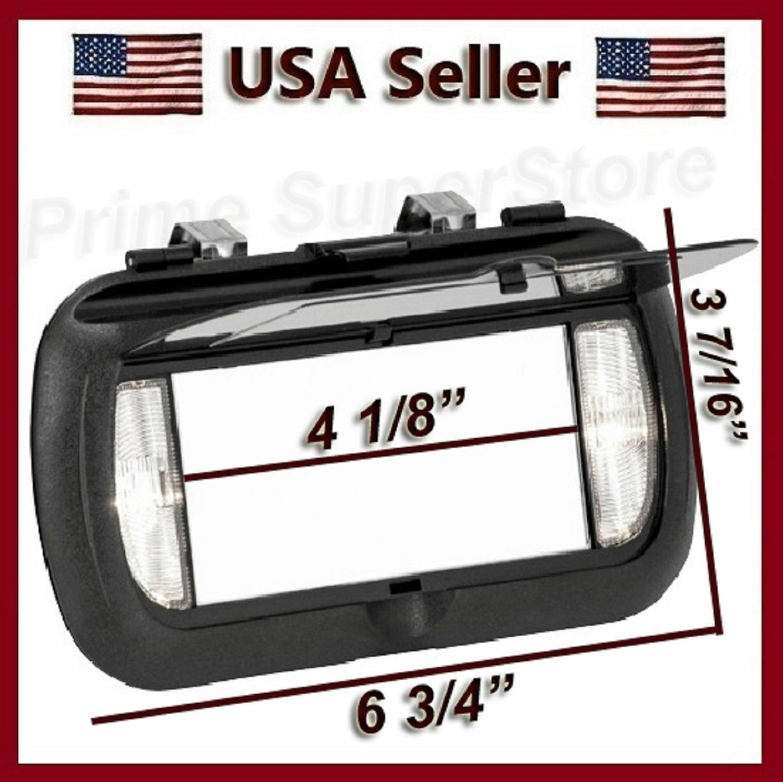 New Led Lighted Black Clip On Sun Visor Vanity Mirror Car Automobile Light Cover