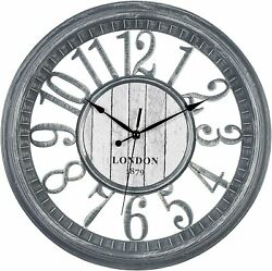 Bernard Products Wall Clock Silent Non-Ticking Gray 16 Large, Rustic Country