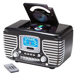 Crosley Corsair Alarm Clock Radio W/ CD Player - Black CR612-BK New