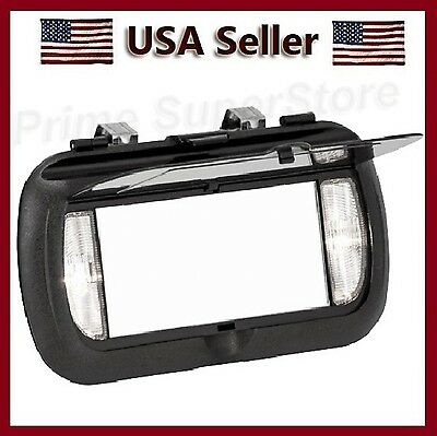 New LED Lighted Black Clip On Sun Visor/Vanity Mirror Car/Automobile Light Cover