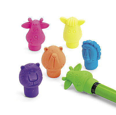 48 NEON Safari Zoo Farm Animal Birthday Party Favor ERASER erasers PENCIL TOP