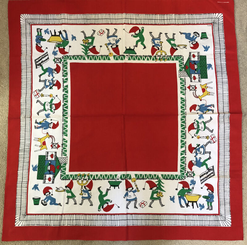 """Vintage Colorful Hand Printed In Sweden Christmas Fabric Tablecloth 34""""x34"""""""