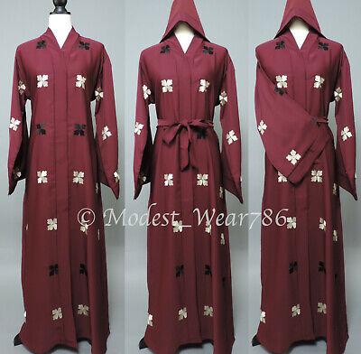 Dubai Open Abaya Kaftan Kimono Cardigan Maxi Dress Floral Embroidery Maroon