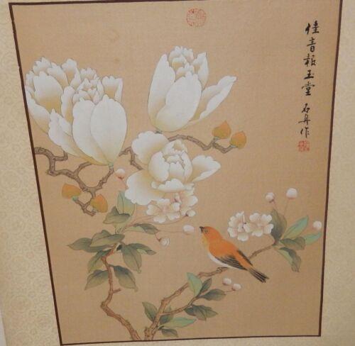 JAPANESE FLORAL ORANGE BIRD LARGE ORIGINAL WATERCOLOR PAINTING SIGNED