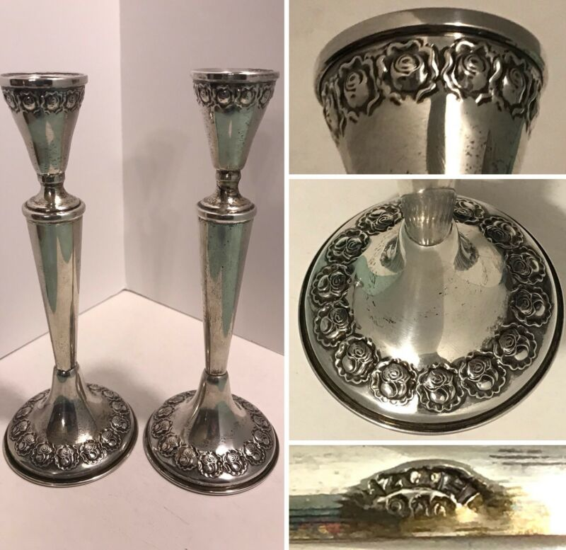 "Vintage HAZORFIM Israel Repousse Rosebud Floral 800 SILVER 6-3/4"" Candlesticks"