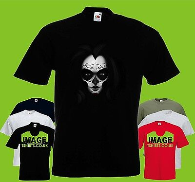 Muertos Girl Mens PRINTED T-SHIRT Day of the Dead Face Head