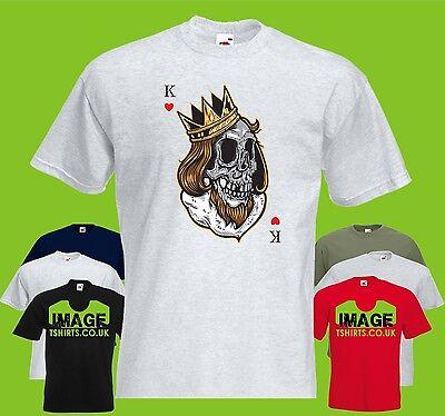 King Of Cards Mens PRINTED T-SHIRT Crown Skull Card Heart Hearts - King Of Hearts Crown