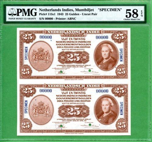 INDONESIA  25 GULDEN 1943   PMG 58 EPQ  SPECIMEN   P115S1  UNCUT PAIR    RARE
