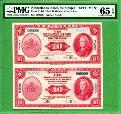 INDONESIA   10 GULDEN  1943   PMG 65 EPQ  SPECIMEN   P114S1  UNCUT SHEET    RARE