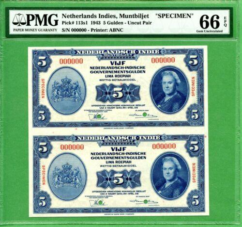 INDONESIA  5 GULDEN 1943   PMG 66 EPQ  SPECIMEN   P113S1  UNCUT PAIR    RARE