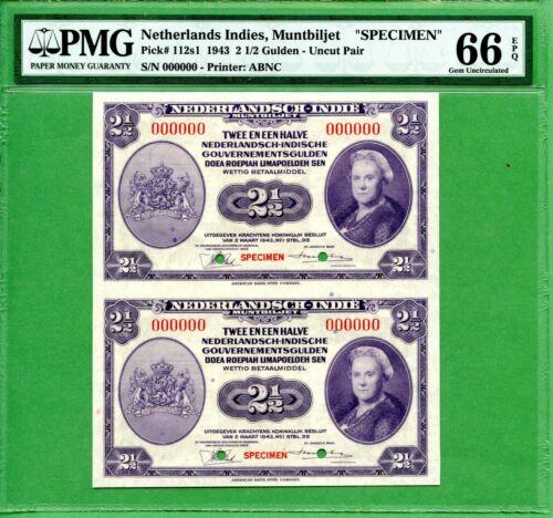 INDONESIA  2 1/2 GULDEN 1943   PMG 66 EPQ  SPECIMEN   P112S1  UNCUT PAIR    RARE