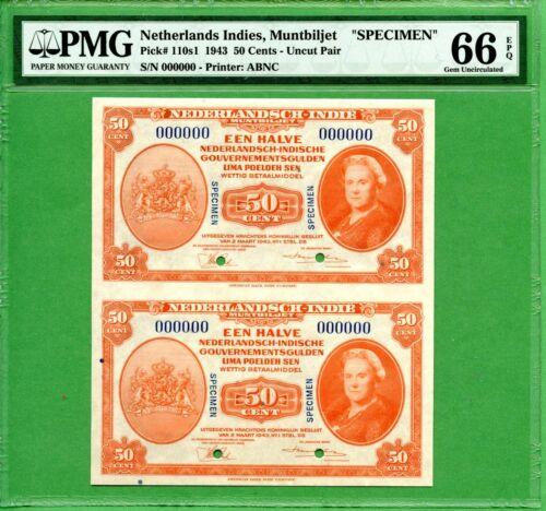INDONESIA   50 CENTS 1943   PMG 66 EPQ  SPECIMEN   P110S1  UNCUT SHEET    RARE